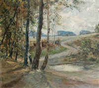 woodland landscape by antal (august) liptai