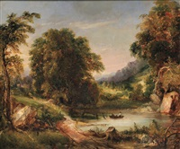landscape with fishermen in a small lake by george loring brown