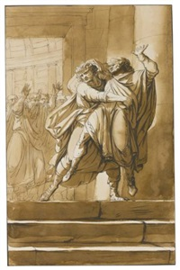 tarquinius superbus throwing servius tullius down the steps of the senate; study after a roman terracotta relief (2 works) by william young ottley