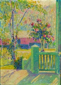 spring bouquet on the porch railing by leo f. dorn