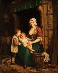 junge mutter mit zwei kindern by adrien ferdinand de braekeleer