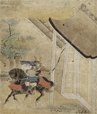 ein samurai vertreibt seine gegner, eine holzlatte schwingend (+ ein berittener samurai zückt vor einer hausumfriedung seinen bogen; pair) by japanese school-tosa (17)