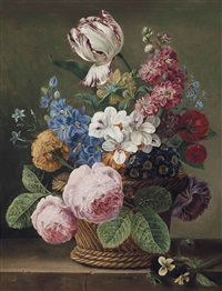 a parrot tulip, roses, morning glory and other flowers in a wicker basket on a ledge by jan frans van dael