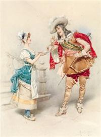 eleganter herr und fesches stubenmädchen by alberto la monaca