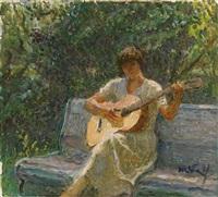 the artist's granddaughter playing the guitar by tatiana yablonskaya
