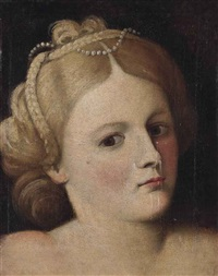 portrait of a woman, bust-length, with pearls in her hair by bernardino licinio