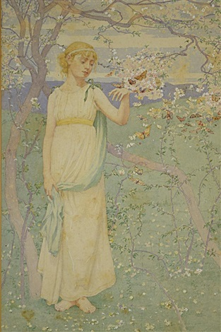 springtime woman with apple blossoms by dennis miller bunker