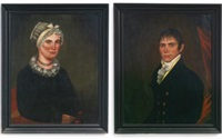 a pair of portraits of mr. daniel spraker and his wife eliza by ammi phillips