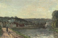 bords de la seine à bougival by camille pissarro