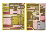 plan of pekin i and plan of pekin ii (2 works) by lucienne day