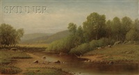 cattle grazing on a riverbank by charles wilson knapp