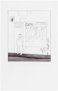 to remain; one night; the beginning; two boys (from illustrations for fourteen poems from c.p. cavafy) (4 works) by david hockney