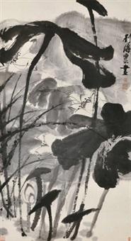 墨荷 立轴 水墨纸本 by liu haisu