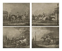 les préparatifs d'une course (+ 3 others; series of 4) (after carle vernet) by jean-pierre-marie jazet