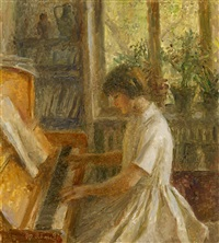 the artist's granddaughter playing the piano by tatiana yablonskaya