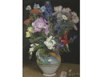 a still life of mixed flowers in a pottery vase by sir george clausen