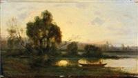 barque au clair de lune by charles félix edouard deshayes