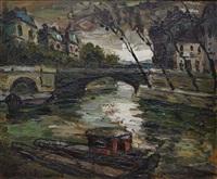 pont sur la seine à paris by elemer vagh-weinmann