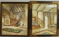 interior scenes: nutley, grange and old hall ticknal derby (pair) by thomas gold appleton
