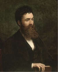 portrait of a bearded gentleman, bust-length, holding a book (+ portrait of a lady, bust-length, in a black dress with lace collar; pair) by l.l. ritchie