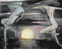 two nudes dancing in a sunset by fu-sheng ku