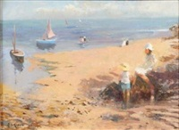 children and figures on a beach by john ambrose