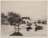 goose and teal by frank weston benson
