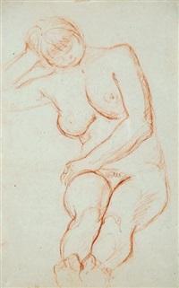 nu féminin assis la tête reposant sur la main droite, la main gauche posée sur la cuisse droite by charles despiau