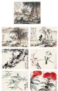 a collection of choice specimens by lu yaoshan, wu hufan, xie zhiliu and chen peiqiu