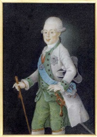 grand duke paul petrovich of russia, tsar of russia as paul i, holding a baton in his right hand, in grey coat, green waistcoat and trousers, frilled cravat, holding a black and grey tricorn hat by anton friedrich könig