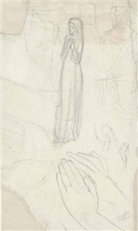 studies of the figure and hands of isabella for the picture claudio and isabella by william holman hunt