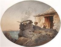 hütte mit blick in die bucht von neapel (+ architectural study, pencil, verso) by giuseppe (jose) aguiari