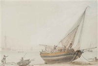 a beached trading vessel at low tide with figures tending to the rigging by samuel atkins