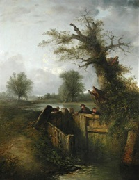 boys at a lock gate by edward robert smythe