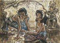 balinese maidens by adrien jean le mayeur de merprés