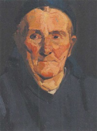 alte frau mit blauem kopftuch by annot (anna ottonie) jacobi
