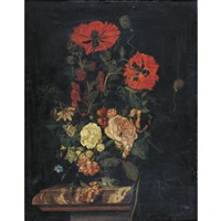 still life with poppies, roses, carnations and other flowers in a vase resting on a marble-top table by nicolaes lachtropius