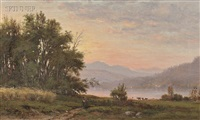 lake view at sunset by george frank higgins