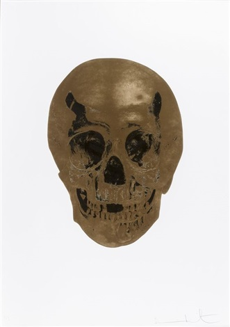 death or glory-autumn gold/cool gold - glorious skull by damien hirst