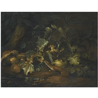 a forest floor with a stoat scurrying through leaves by niccolino van houbraken