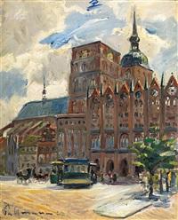 stralsund. der belebte marktplatz mit st. nikolai by kurt pallmann