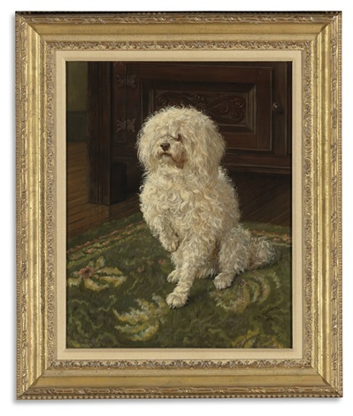 poodle on a green carpet by george l. harrison