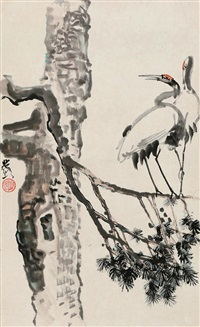 twin craines on the tree by xu beihong