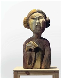 woman with pigtails by anne chu