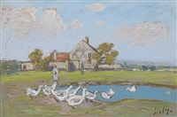 gardeuse d'oies aux sablons by alfred sisley