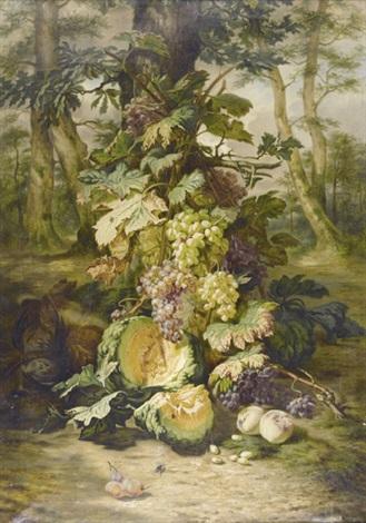reiches stillleben mit früchten und tieren by simon saint jean
