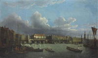 an extensive view of the thames and the city of london with old london bridge from the east, the church of st. magnus and the monument beyond by samuel scott