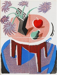 flowers, apple and pear on a table by david hockney