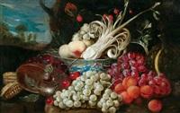 stilleben mit früchten, nautilus und chinesicher schale by jan pauwel gillemans the elder