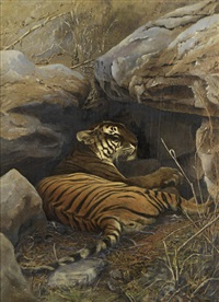 lying tiger (+ another, smllr; 2 works) by wallace willoughby hooper